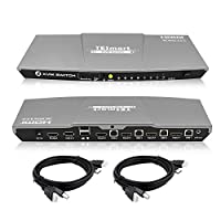 TESmart KVM Switch 4 Port HDMI   4K 60Hz Ultra HD   Multimedia with Audio Output [Connect Multiple PCs, Laptops, Gaming Consoles to 1 Video Monitor, Keyboard & Mouse] Includes 2 Cables w/USB & Remote