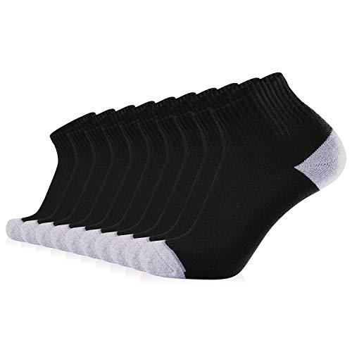 JOURNOW Men's Cotton Moisture Wicking Extra Heavy Cushion Low Cut Socks 10 Pair (10-13, black) (Black Soft Socks)