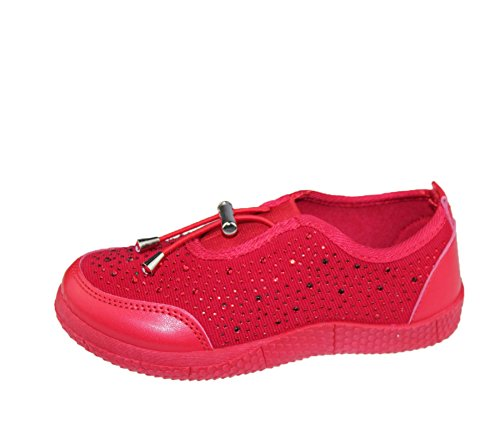 KOLLACHE Mädchen mit Verziert Schuhe Casual Walking Komfort Fashion Leinwand Trainer Rot