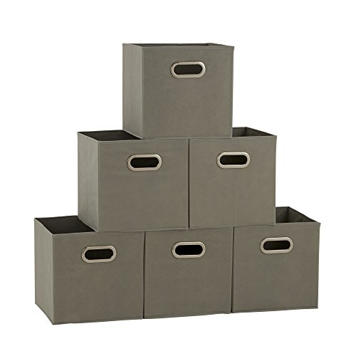 Household Essentials 84-1 Foldable Fabric Storage Bins | Set of 6 Cubby Cubes with Handles | Teafog