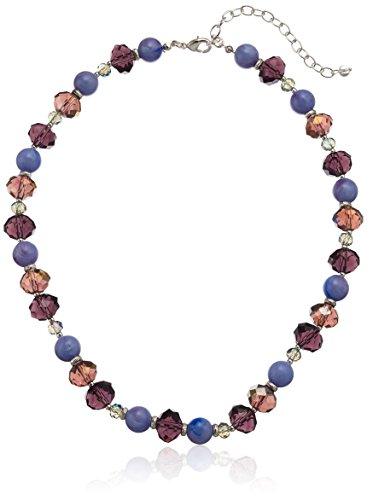 - Napier Silver-Tone and Purple Beaded Collar Necklace
