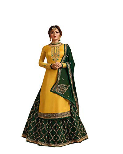 - New Indian/Pakistani Eid Special Party/Ethnic wear Georgette Straight Ghagra Style Salwar for Womens (Yellow, SMALL-38)