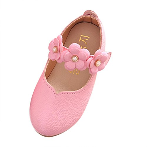 Coper Fashion Little Girl Casual Solid Princess Shoes with Flower (Pink, US:8.5)