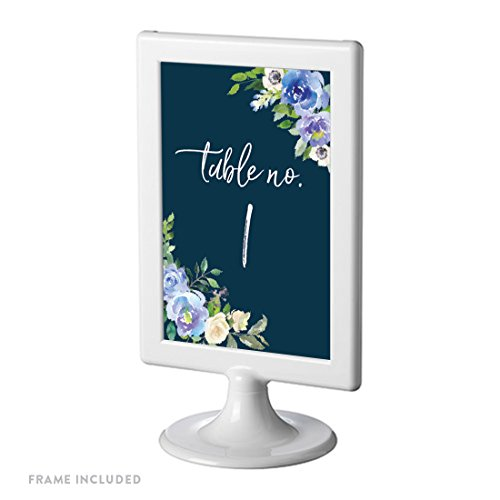 Andaz Press Navy Blue Hydrangea Floral Garden Party Wedding Collection, Framed Table Numbers 1 - 8 on Perforated Paper, Double-Sided, 4 x 6-inch, 1 Set, Includes Frames