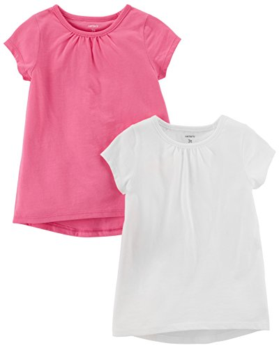 Carter's Baby Girls' 2-Pack Tee, White/Pink, 12 Months