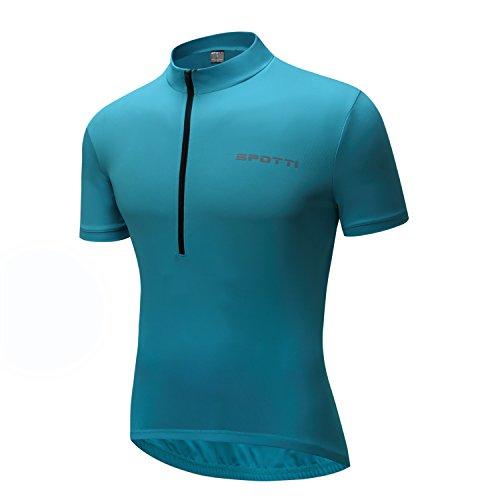 Spotti Basics Men's Short Sleeve Cycling Jersey - Bike Biking Shirt (Light Blue, Chest 46-48