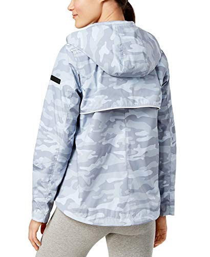 Calvin Klein Women's Performance Spectator Printed Asymmetrical-Zip Hooded Jacket Gray Camo Large