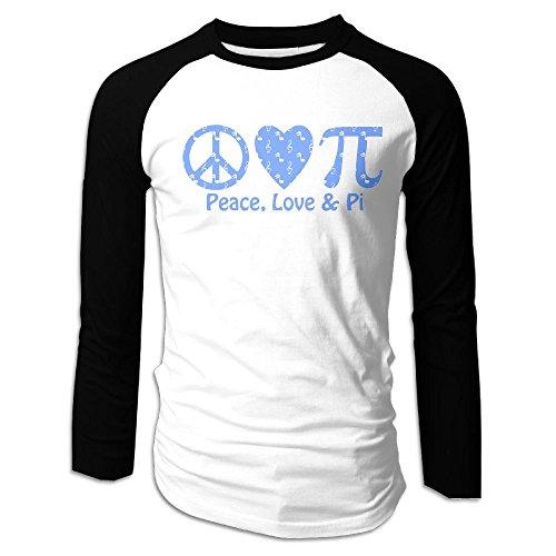 Puppylol Men's Peace Love PI Music Long Sleeve Raglan T-Shirts (Toys R Us Albany Ny)