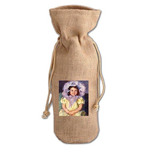 Margo In White (Cassatt) Jute Burlap Burlap Wine Drawstring Bag Wine - Margo Brilliant