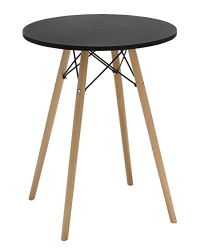 Duhome 24 Round Dining Table Mdf Top Wooden Leg Stylish Eames Style Space Saving Breakfast Table Black