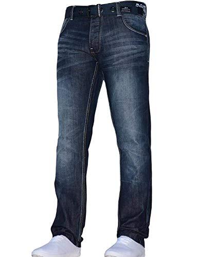 Mens Crosshatch Classic Straight Leg Regular Fit Stylish Denim Jeans All Waist Sizes Belted