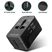 Amoner Reiseadapter Steckdosenadapter Universal Adapter Travel Plug Stromadapter Weltweit Reisestecker,3 USB+1 Typ C,5A…