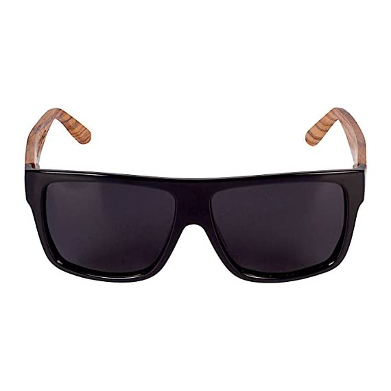 Woodies Zebra Wood Aviator Wrap Sunglasses with Black Polarized Lenses 2 COMFORTABLE: Handmade from REAL Zebra Wood (50% Lighter than Ray-Bans) EXTRAS: Includes FREE Carrying Case, Lens Cloth, and Wood Guitar Pick PROTECTION: Polarized Lenses Provide 100% UVA/UVB Protection