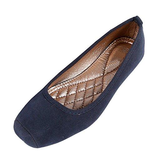 fereshte Women's Comfort Faux Leather Square Toe Flat Pumps Ballet Shoes NO.269 Velvet Blue