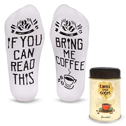 Secret Pal Ideas For Halloween (Cavertin Bring Me Coffee Socks with Gift)