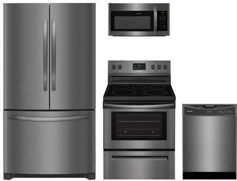 Amazon.com: Frigidaire 4-Piece Negro Acero Inoxidable Del ...