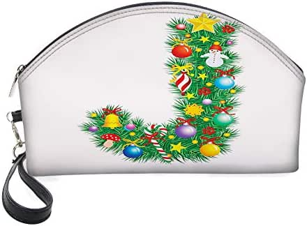 Half Moon Cosmetic Beauty Bag,Capital J with Christmas Celebration Items Colorful Balls Candy Snowman Design for Women & Girls School Travel Office