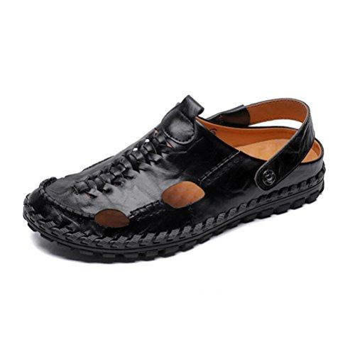 playa al de antideslizantes hombres de ocasionales cuero aire verano zapatillas YWNC black los de 2018 sandalias de genuino libre Chancleta qYR7wAO
