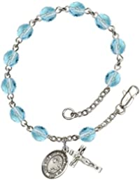 March Birth Month Bead Rosary Bracelet with Footprints and Cross Petite Charm, 7 1/2 Inch