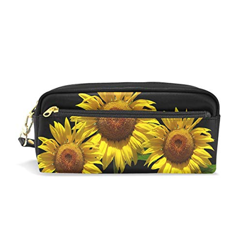 Pencil Case Stylish Print Sunflower Sun Summer Blossom Bloom Nature Yellow Art Pattern Large Capacity Pen Bag Makeup Pouch Durable Students Stationery Two Pockets with Double Zipper ()