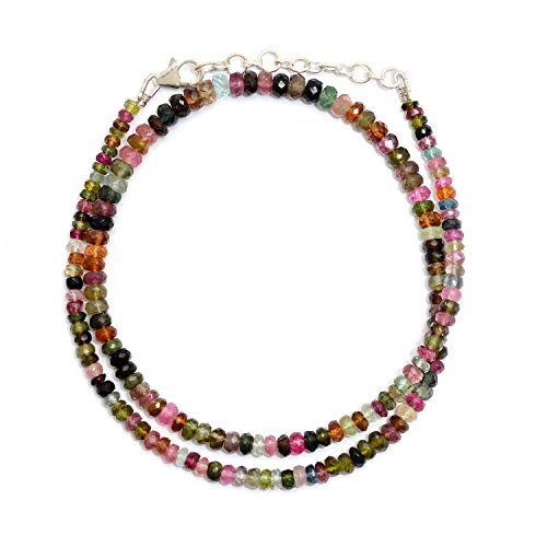 Myhealingworld Natural Multi Color Faceted Rondelle Gemstone Beads 16 Inch Beaded Necklace with Additional 2 inch Extension. Bead Size Varies from 2mm to - Color Necklace Multi Tourmaline