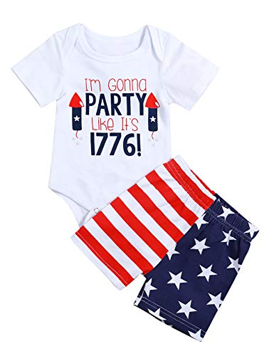 My 1st 4th of July Baby Boy Girl Outfits I'm Gonna Party Like It's 1776 Romper Onesie Bodysuit + Stars Stripes Shorts Newborn Infant Independence Day Set