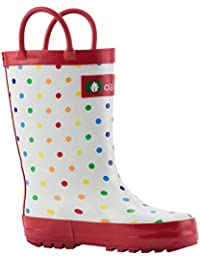 Kids Rubber Rain Boots With Easy-On Handles, Rainbow...