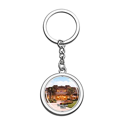 Keychain Wilson Creek Winery Temecula United States USA US Keychain Crystal Spinning Round Stainless Steel Keychains Souvenir Key Chain Ring -