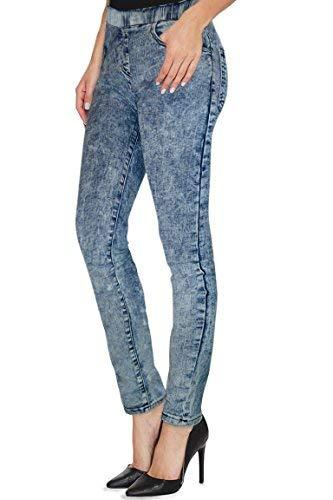 Womens Super Stretch Skinny Pant P45944SKX Blue Acid 2X (Plus Size Acid Wash Jeans)