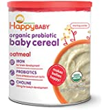Happy Baby Organic Probiotic Baby Cereal with Choline, Oatmeal 7 Ounce Canister (Pack of 6), High in Iron, Calcium, and Probiotics