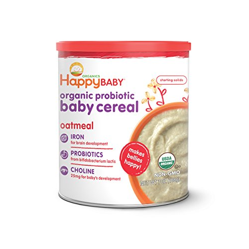 Happy Baby Organic Probiotic Baby Cereal with DHA & Choline, Oatmeal, 7-Ounce Canisters (Pack of 6)