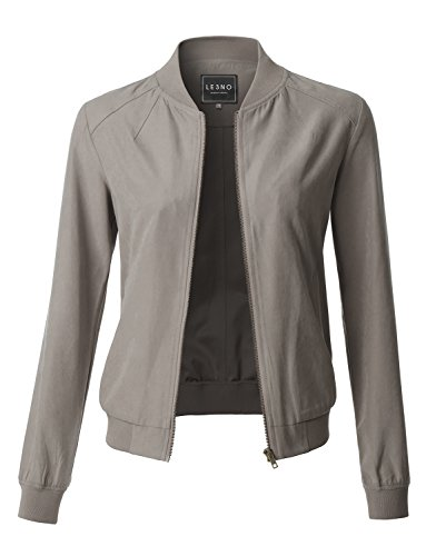 Jacket Bomber Quilted Nylon (LE3NO Womens Lightweight Faux Suede Long Sleeve Varsity Bomber Jacket With Pockets)