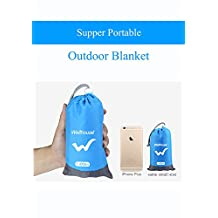 BRIGADA Supper Portable Outdoor Picnic Sand Proof Water Proof Beach Blanket Rest Mat with Fixed Bars, Fashion Blue Sandless Beach Mat 4.2' * 6' Fits for 2-3 Person