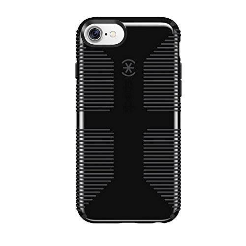Black Case Rubberized Protector Shield (Speck Products CandyShell Grip Cell Phone Case for iPhone 8/7/6S/6 - Black/Slate Grey)