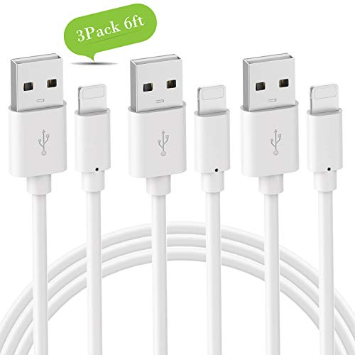 Phone Charger Cable Novtech Charger Cord 3 Pack 6FT Certified Fast Charging Cable Compatible with Phone Pad Pod White (Charger Approved Ipad Apple)