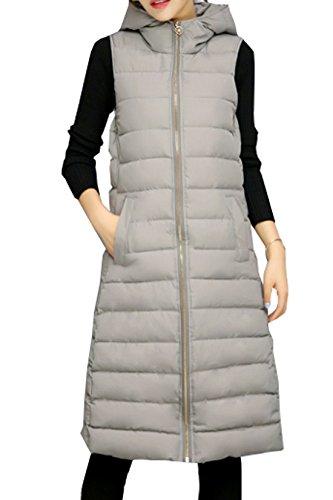 ELPISレディースロングダウンベストジャケットノースリーブブルゾンアウターフード付きロング丈2色グレーM