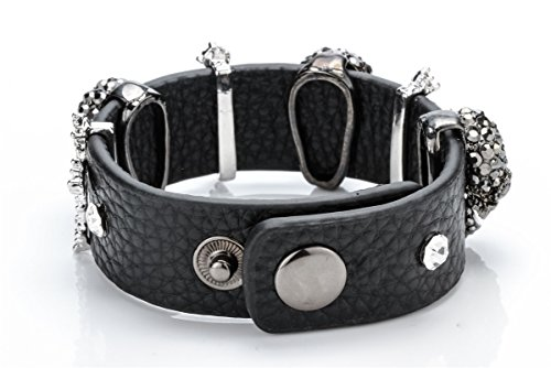 Szxc Jewelry Women's Black Leather Crystal Skull Cross Adjustable Bangel Bracelet Biker Jewelry Photo #3