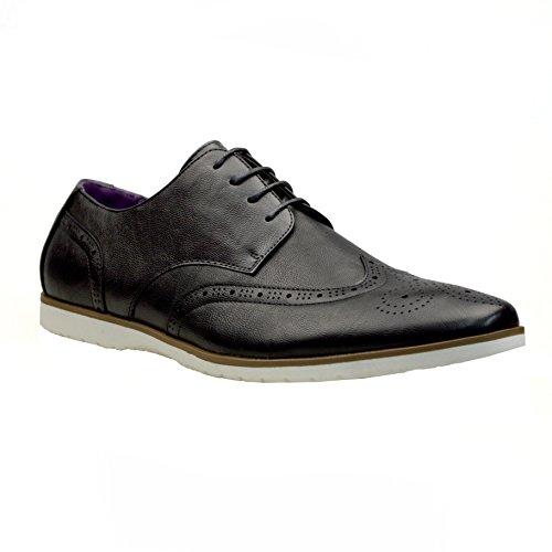 Robelli cordón Negro Zapatos de para piel hombre con 1 1YvqAwEA