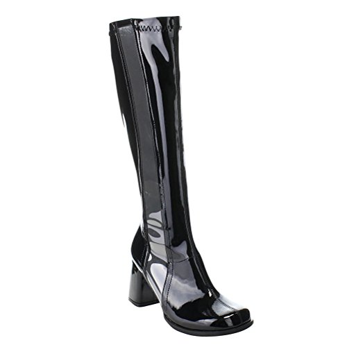 Womens Black Chunky Heels Go Go Boots Stretch Clear Stripe Zipper 3 Inch Heels Size: 16 ()