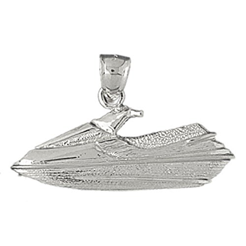 14k White Gold Jet Ski Pendant (35 x 20 mm) by K&C