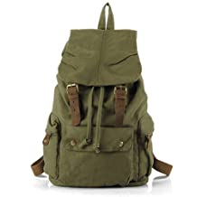 Koolertron Vintage Canvas Leather Hiking Travel Military Backpack Messenger Tote Bag Video Portable Carry Case for Sony Canon Nikon Olympus DSLR ipad 2 ipad 3 mini ipad Google NEXUS 10 SamSung Galaxy Note 10.1 N8000 Microsoft Surface 10 inch (Green)