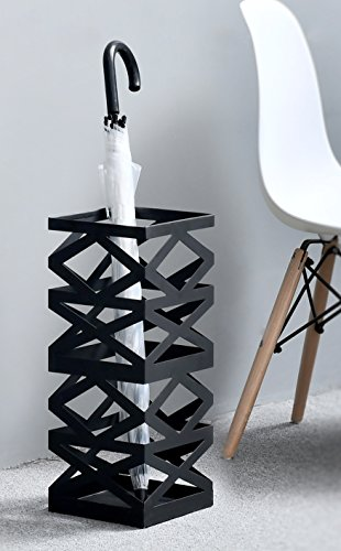 Modern Metal Umbrella Holder, Geometric Design Entryway Storage Rack with Drip Tray, Black