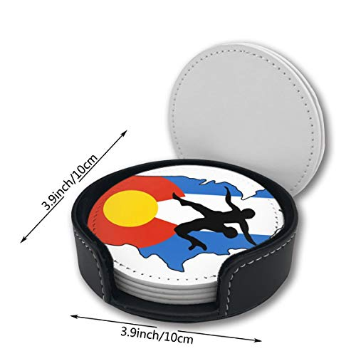 Warm And Warm Colorado Wrestling Flag Coasterst Mats Pu Leather Placemats Pattern Decor Car Ornament Decorations Home Printed Circle Drink Bar Holder Home Mats 6 Pc Set Round Large - Furniture Colorado Bedroom