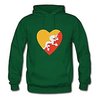 For Women Cotton Green Customized Off-the-record Chic Bhutan Flag Heart Hoody X-large