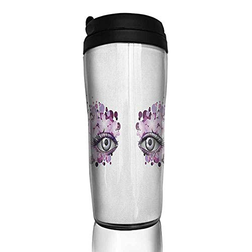 coffee cups for mom Eyelash,Fantasy Look with Abstract Floral Makeup Design Dots Violet Summer Blossoms, Violet Lilac Grey 12 oz,coffee cup warmer for desk -