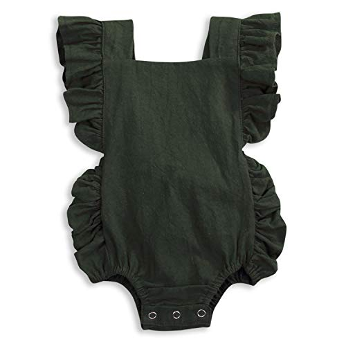 KCSLLCA Baby Girls Romper Solid Color Ruffle Sleeveless Backless Onesies (Pea Green, 6-12 Months) -