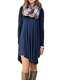 Women's Casual Plain T-Shirt Loose Dresses(40-Long...