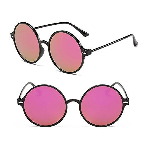Femmes de soleil Joker Rose Lunettes Noir Mercure Hommes BOZEVON Fashion rondes Brillant et Vintage Bn875x