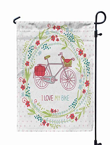 GROOTEY Garden Flag Floral Welcome,Home Yard Decorative 12X18 Inches Cute Card Floral Wreath Bike Bright Spring Background Love My Bake Double Sided Seasonal Garden Flags -