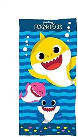 Baby Shark strandhanddoek voor kinderen microbadstof afmetingen 140 x 70 cm